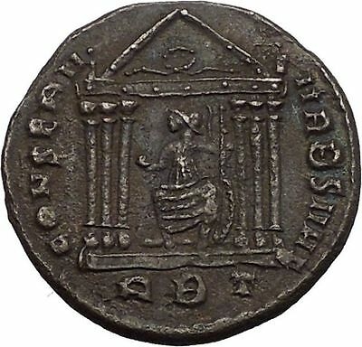 Maxentius Constantine the Great Enemy Ancient  Roman Coin Temple of Roma i57374