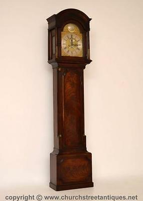 Antique George Iii Mahogany Longcase Grandfather Clock - Brass Face