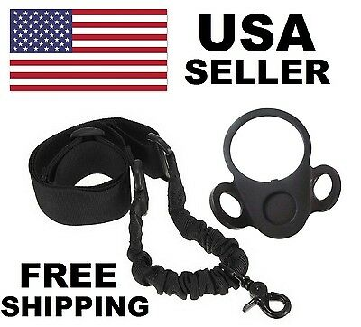 NEW AR Single Point Sling + Adapter Plate Mount COMBO Rifle Tactical 15 Bungee