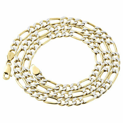 Mens Real 10K Yellow Gold Diamond Cut Figaro Style Chain 5mm Necklace 18-30 Inch