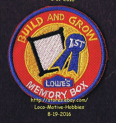 LMH PATCH Badge MEMORY BOX Blue Ribbon 1st Place LOWES Build Grow Project Series