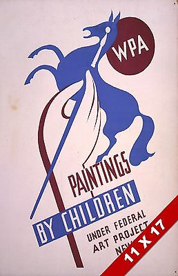 Vintage Childrens Paintings Federal Art Project Exhibit Retro Wpa Poster Print