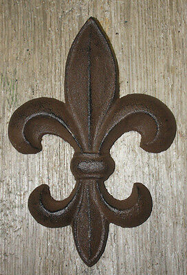 "Cast Iron Antique Style Rustic Fleur De Lis Wall Decor Boy Scouts 7"" Saints"