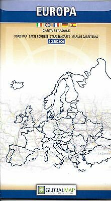Road Map of Europe, in English, Spanish, French, Italian & German Global Map