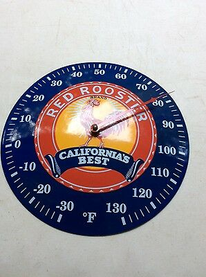 vtg red rooster california's best porcelain metal thermometer sign farm seed