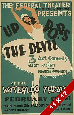 Vintage Up Pops The Devil Play Federal Theater Art Retro Wpa Poster Print