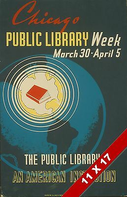 Vintage Chicago Public Library Week Art Retro Federal Wpa Reading Poster Print
