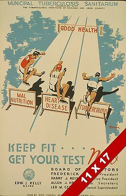 Vintage Medical Awareness Heart Disease Tb Health Art Retro Wpa Poster Print