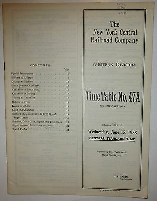 New York Central Railroad 1938 Employee Timetable - Western Division