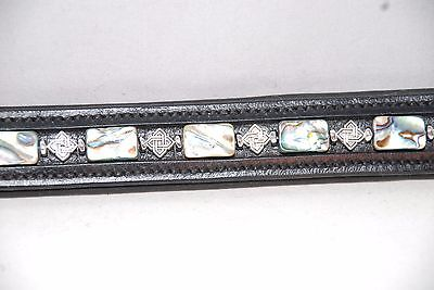 """17"""" (Oversize) Black Browband w/ Abalone and Metal Accents"""