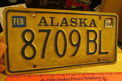 Alaska License Plate Gold Style Truck issue plate 8709 BL, Expired 2004