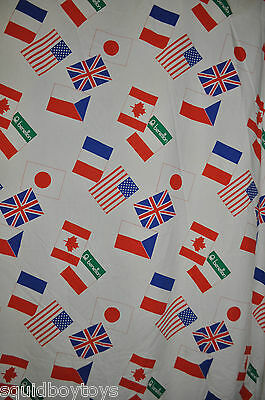 COLORS of BENETTON vintage FITTED BED SHEET 1990s rare Fabric World Flags
