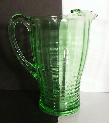 """Jeannette Banded Rib Green Pitcher Block Optic Glass 8-1/2"""" tall 42 oz Damage"""