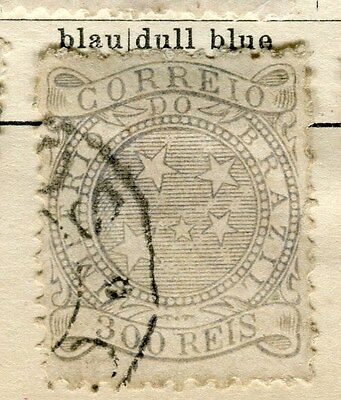 BRAZIL;  1884 early definitive issue fine used 300r. value