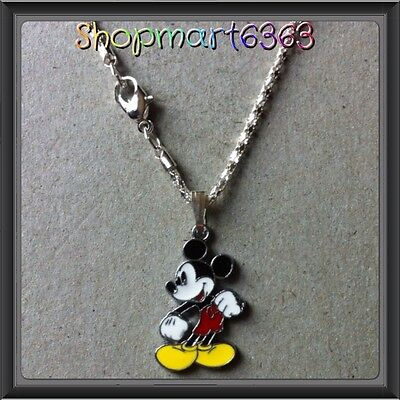 """Disney Mickey Mouse Enamel Charm With 16.5"""" Silver Plated Snake Chain/new #2"""