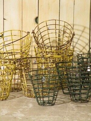 Pair of vintage French golf ball baskets - Yellow large