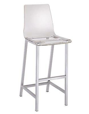 White Finsh Acrylic Seat Bar Stool with Chrome Base by Coaster 100295 - Set of 2