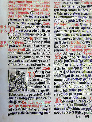 Post Incunable Leaf Breviary Brevarium Small Woodcut (VII) - 1508