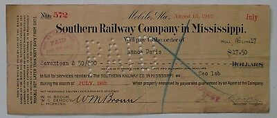 Southern Railway Company in Mississippi Check 1917 - issued & cancelled