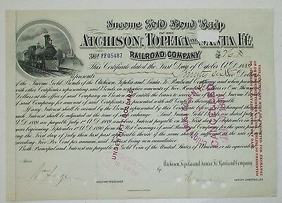 Santa Fe Railway 1889 Gold Bond Certificate  issued & cancelled -  Stock