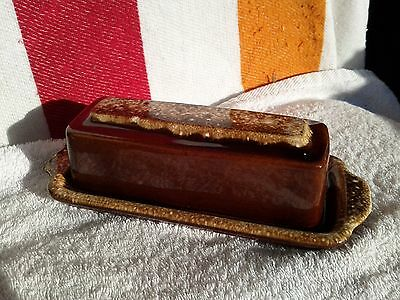 Vintage HULL Brown Drip Glaze 2 Piece Butter Cover Dish Oven Proof