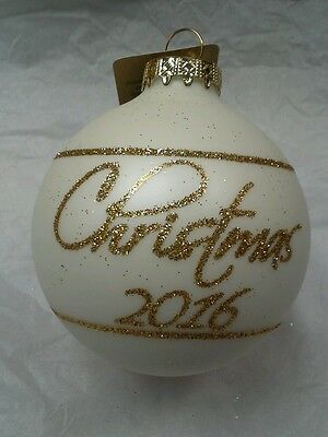 """Christmas 2016 3"""" Glass Ball Ornament Gold Glitter Annual Dated"""