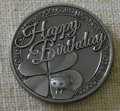 Happy Birthday Pocket Token Lucky Coin  Pewter Inspirational NIP  Happiness Love