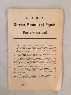 Mills Bells Slot Machine Service Manual and Repair Parts Price List