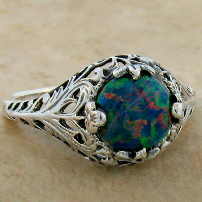 Antique Victorian Design .925 Sterling Silver Black Lab Opal Ring Size 4.75,#824