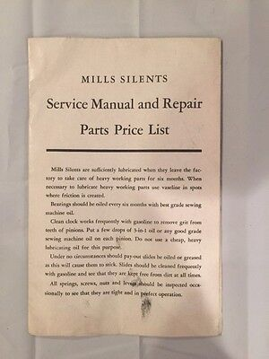 Mills Silents Slot Machine Service Manual and Repair Parts Price List