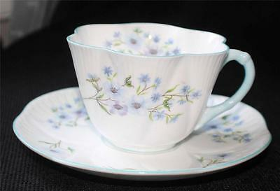 Vintage SHELLEY Bone China England Dainty BLUE ROCK Pattern #13591 Cup & Saucer