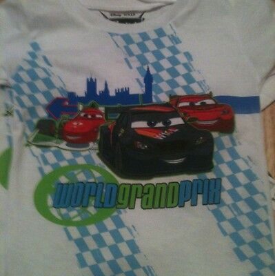Disney Pixar Cars 2 World Grand Prix Boys White T-shirt 18M New With Tags.