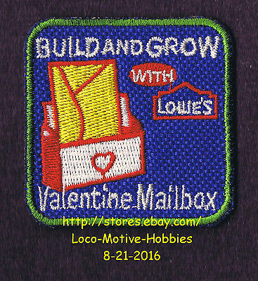 LMH PATCH Badge '07 VALENTINE MAILBOX Letter Holder LOWES Build Grow Kids Clinic