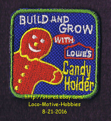 LMH PATCH Badge 2004 CANDY HOLDER Gingerbread Man  LOWES Build Grow Kids Clinic