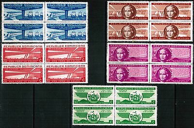 Dominican Republic Airmail 1940 Sc#C35-C39, Blks of 4, Columbus  MNH** VF cp2