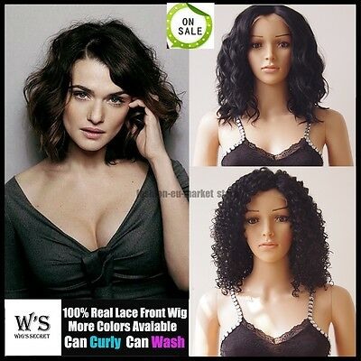 Bob Style Women Lace Front Wig Without Wavy Curly Natural Dark Black Full Wigs