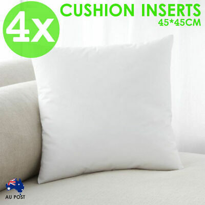 4x Cushion Pillow Inserts Premium Polyester Fibre Filling 45x45cm Square HOME AU