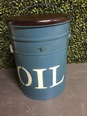 New Oil Drum Metal With Timber Top Stool Seat Industrial 40cm x 30cm Blue