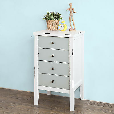 SoBuy® Bedside Table, Vintage Shabby Chic Rustic Cabinet Cupboard,FRG153-WG,UK