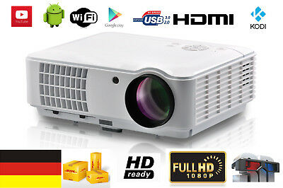 4000 Lumen 1080P Android WiFi Heimkino HDMI USB VGA Full HD Projektor LED Beamer