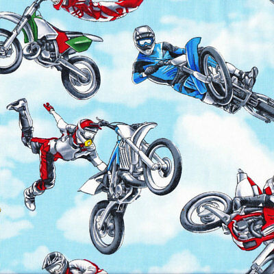 Dirt Bikes Extreme Sport Motorbikes Motocross Boys Kids Quilt Fabric FQ or Metre