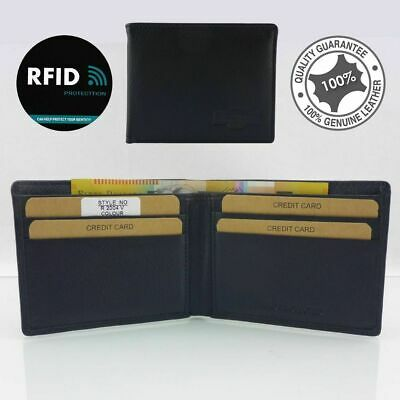 Genuine Men's Soft Cowhide Leather Anti-RFID Blocking Technology,protect,ID Sm