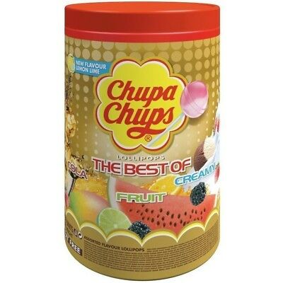 100 Best of CHUPA CHUPS Lollipops Assorted Flavour Bulk Lollies Pops Jar Box