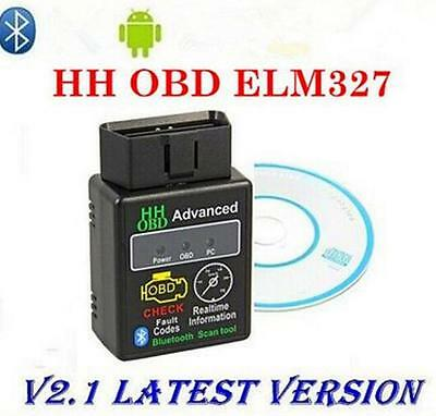 ELM327 Car Auto Bluetooth V2.1 2 OBDII Diagnostic Tool Scanner Interface HH OBD