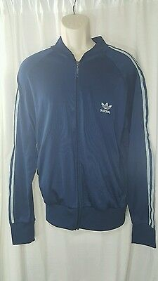 Adidas navy blue gray striped jacket vintage track suit large #1135