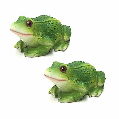 Floating Frog Statue Ornament Figurine Sculpture Garden Pond PAIR 11cm 3557