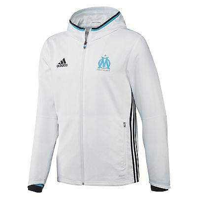 adidas Mens Gents Football Olympique de Marseille Presentation Jacket - White