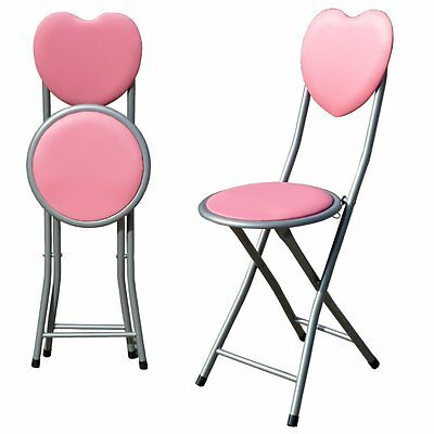 Kids Girls Childrens Folding Pink Chair Padded Love Heart Back With Safety Lock