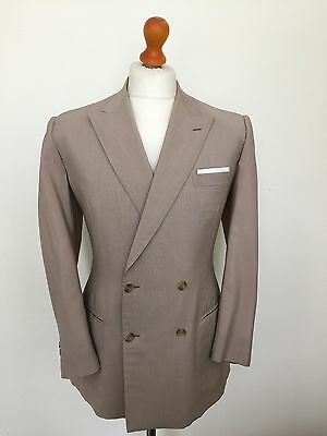 Vintage Mens Bespoke Mohair Cream Double Breasted Summer suit Size 38 40