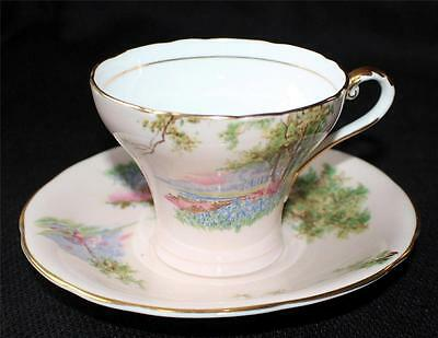 Vintage AYNSLEY Bone China England Pink FOREST MEADOW SCENE Corset Cup & Saucer
